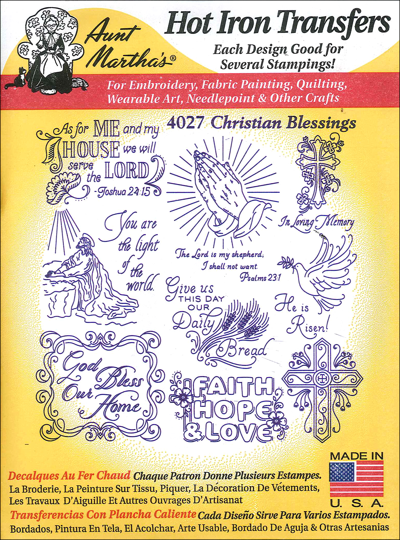 Aunt Martha\'s Hot Iron Transfers #4027 Christian Blessings ...