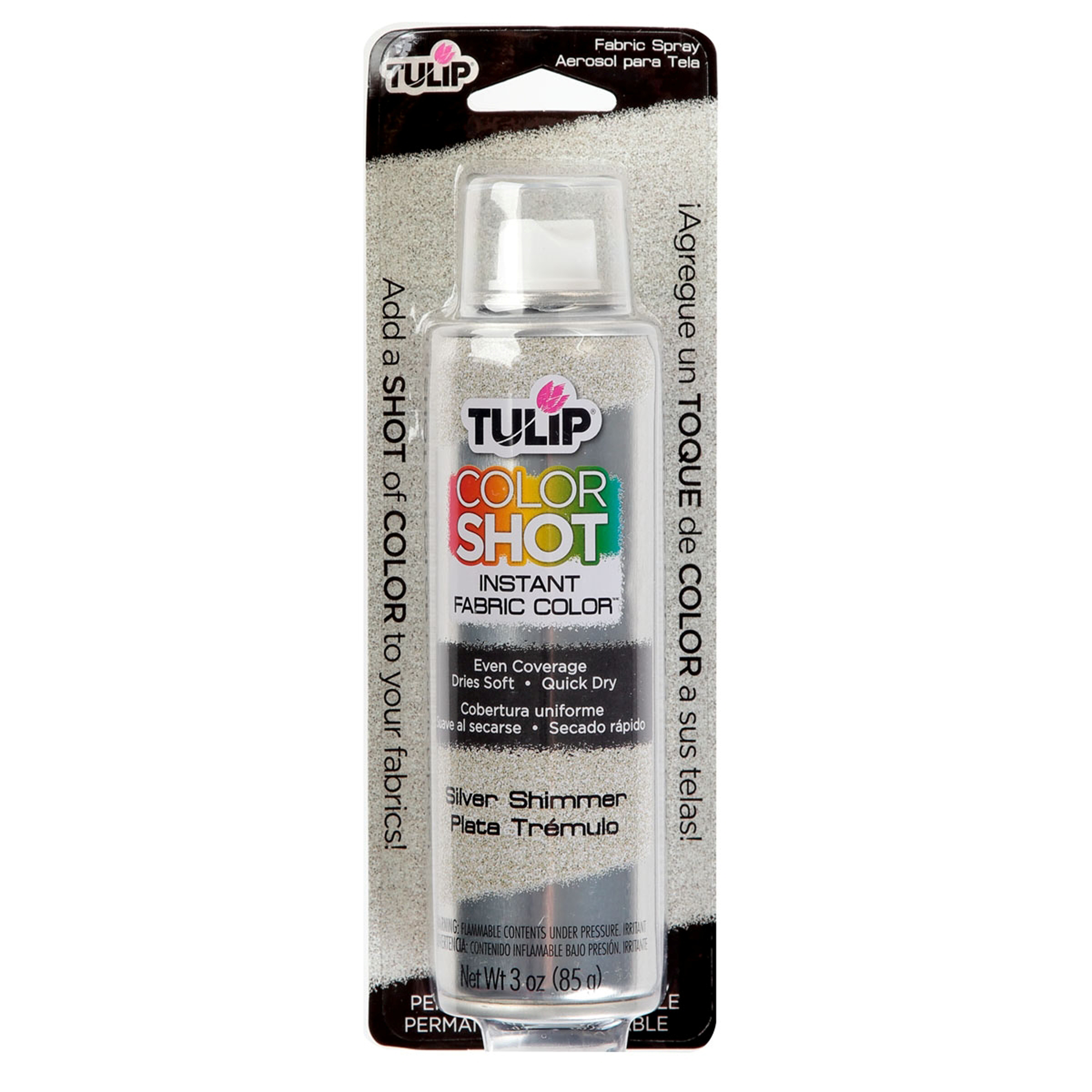 tulip color shot fabric spray paint 3 oz metallic silver