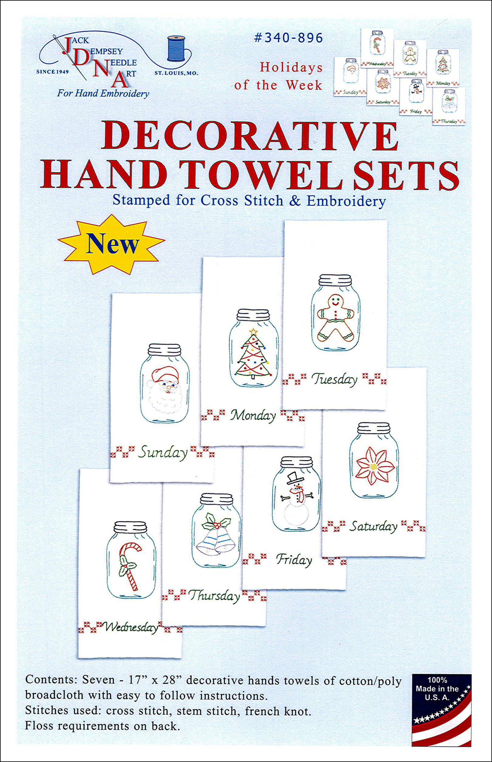 Jack Dempsey Decorative Hand Towel Holidays of Week 7 pc
