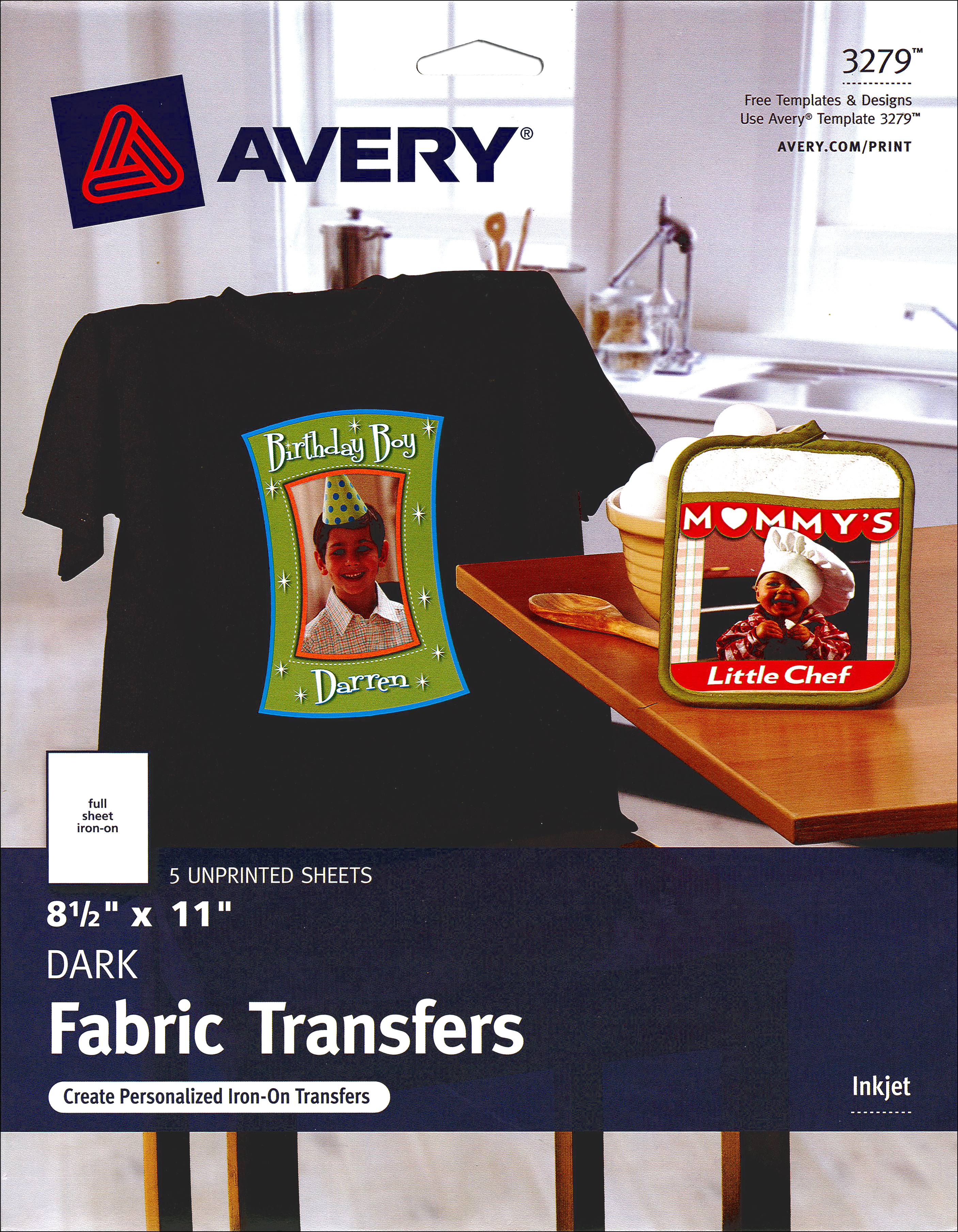 avery fabric transfers 8 1 2 x 11 in dark t shirt 5 pc