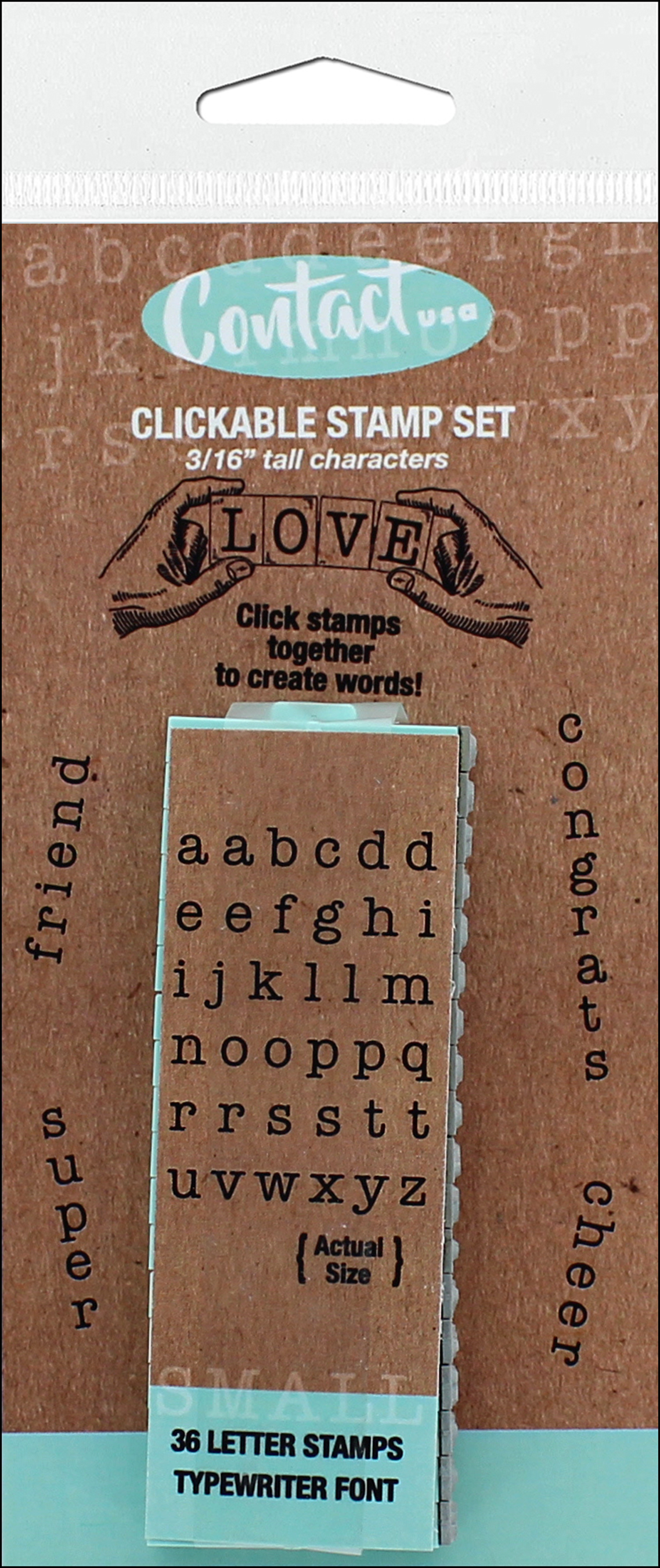 Contact USA Clickable Stamp Set Small Lower Case Typewriter Font