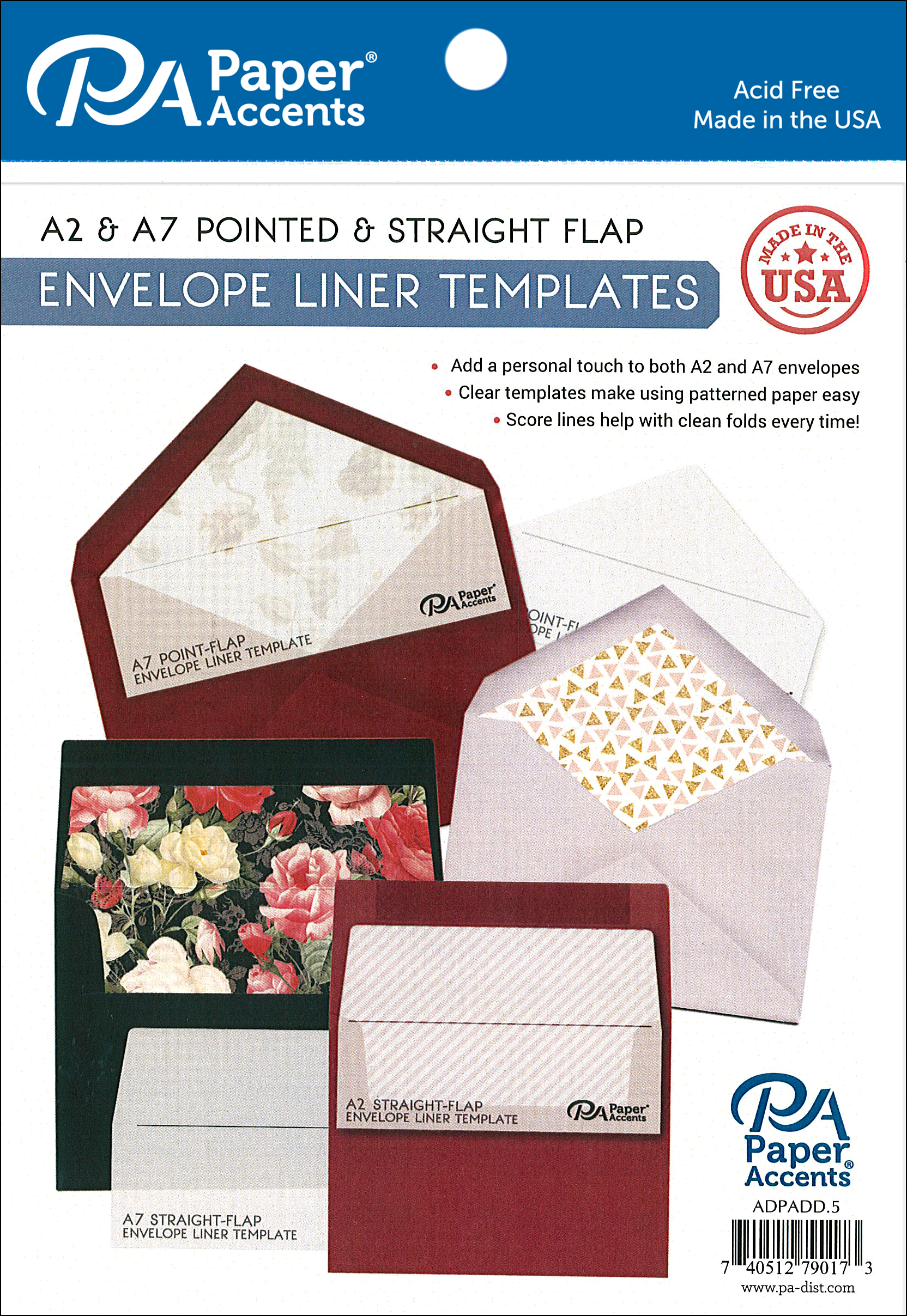 PA Envelope Liner Templates 4pc A2 & A7 -- CreateForLess