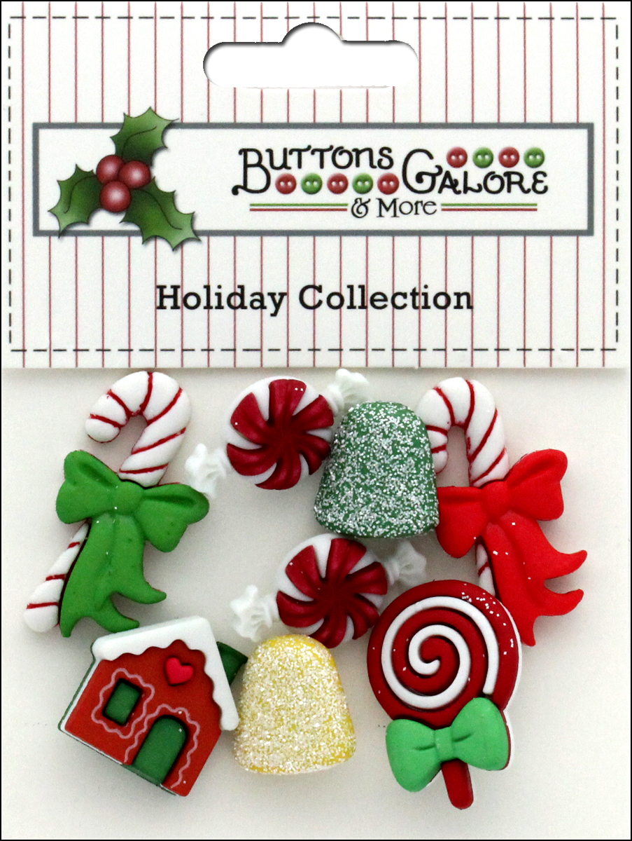 4 Gingerbread Cottage Buttons Shank Buttons Galore Holiday Button