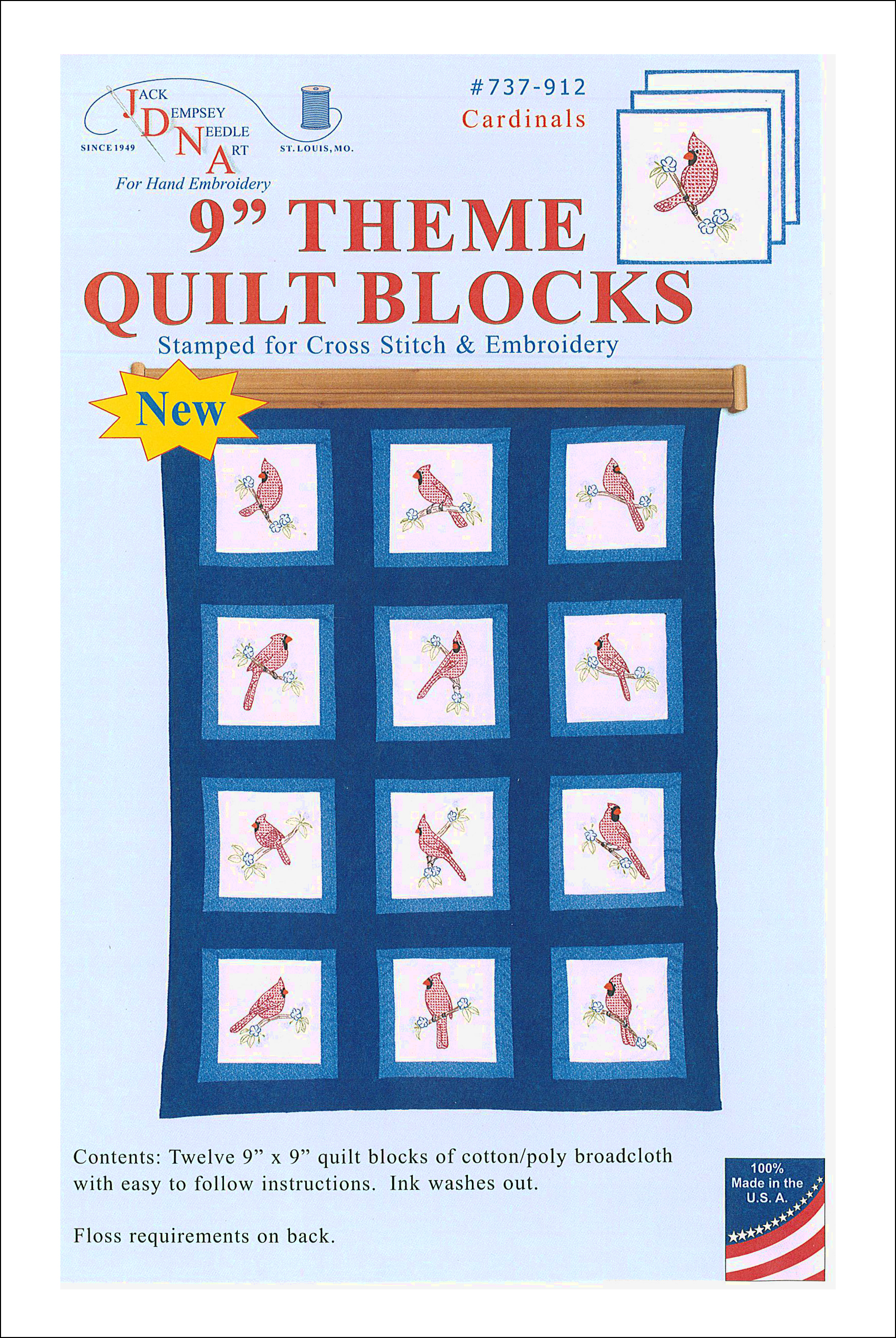 Jack Dempsey 9 Quilt Blocks Cardinals 12pc Createforless