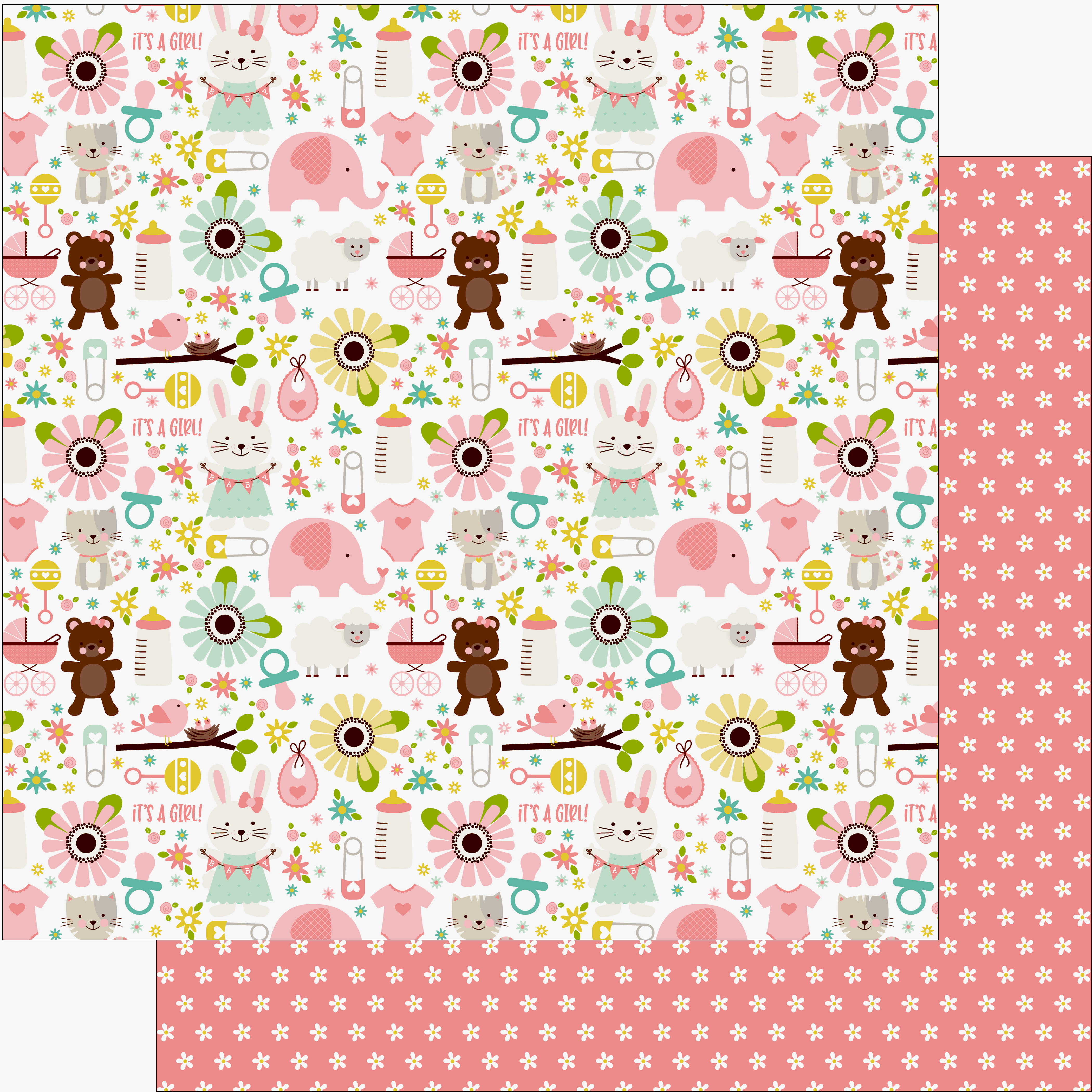 Echo Park Sweet Baby Girl Paper 12 in  x 12 in  It's a Girl (25 pieces)
