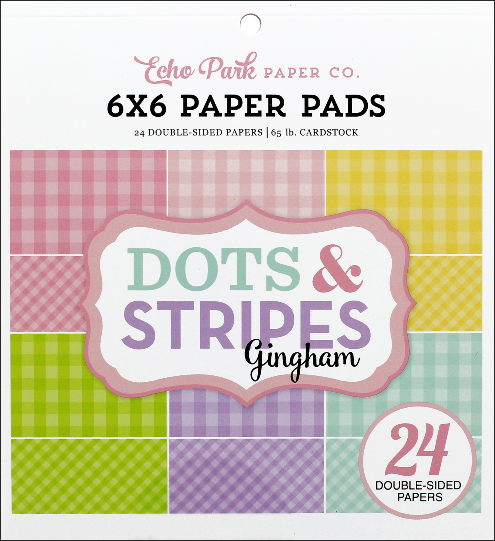 Spring Dots /& Stripes Collection Scrapbooking 6x6 Paper Pad 24 Sheet Echo Park