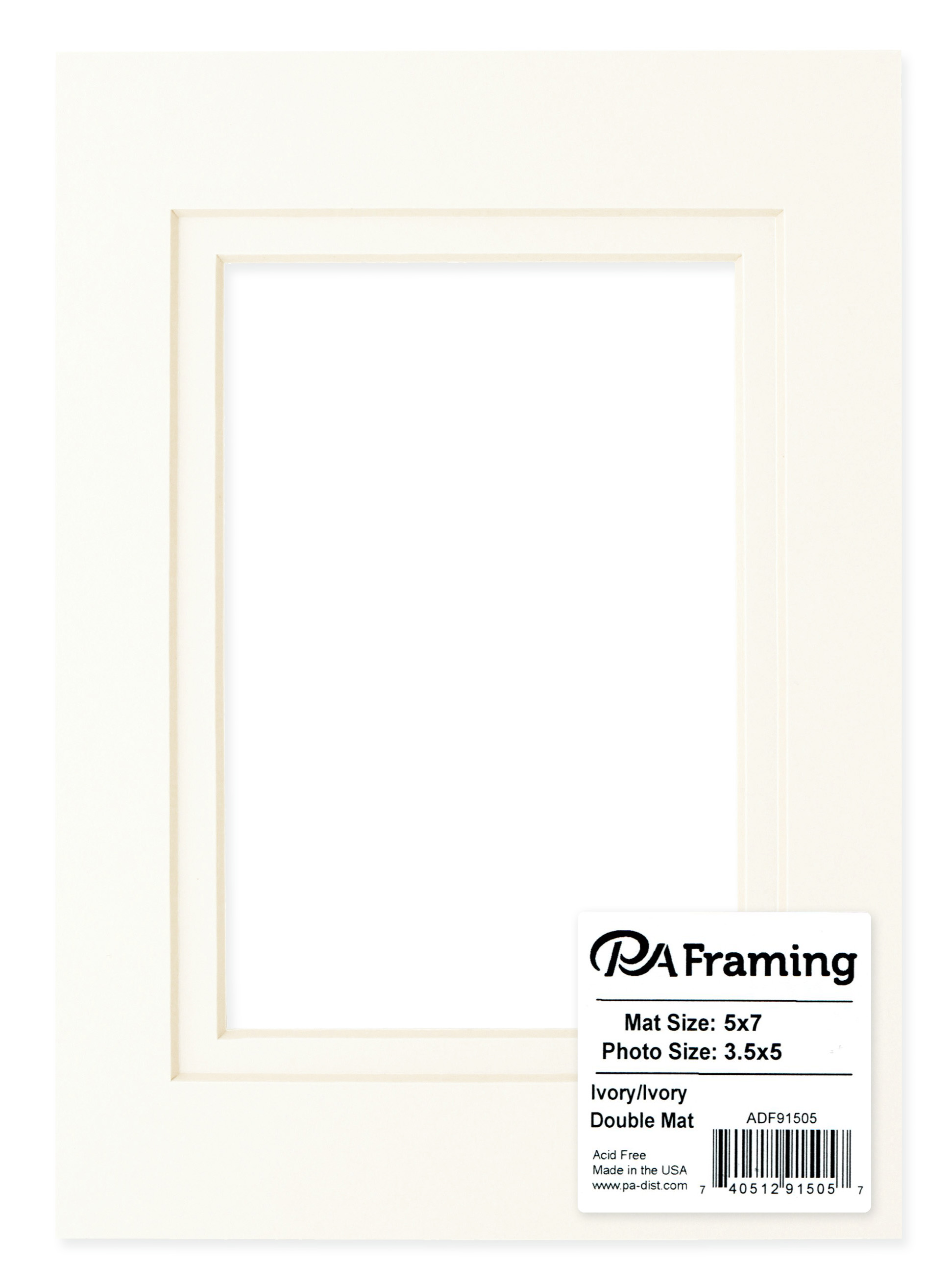 Cream Core//Ivory Upper and Inner Mat Double Mat 5 x 7 Inches Frame for 3.5 x 5 Inches Photo Art Size PA Framing