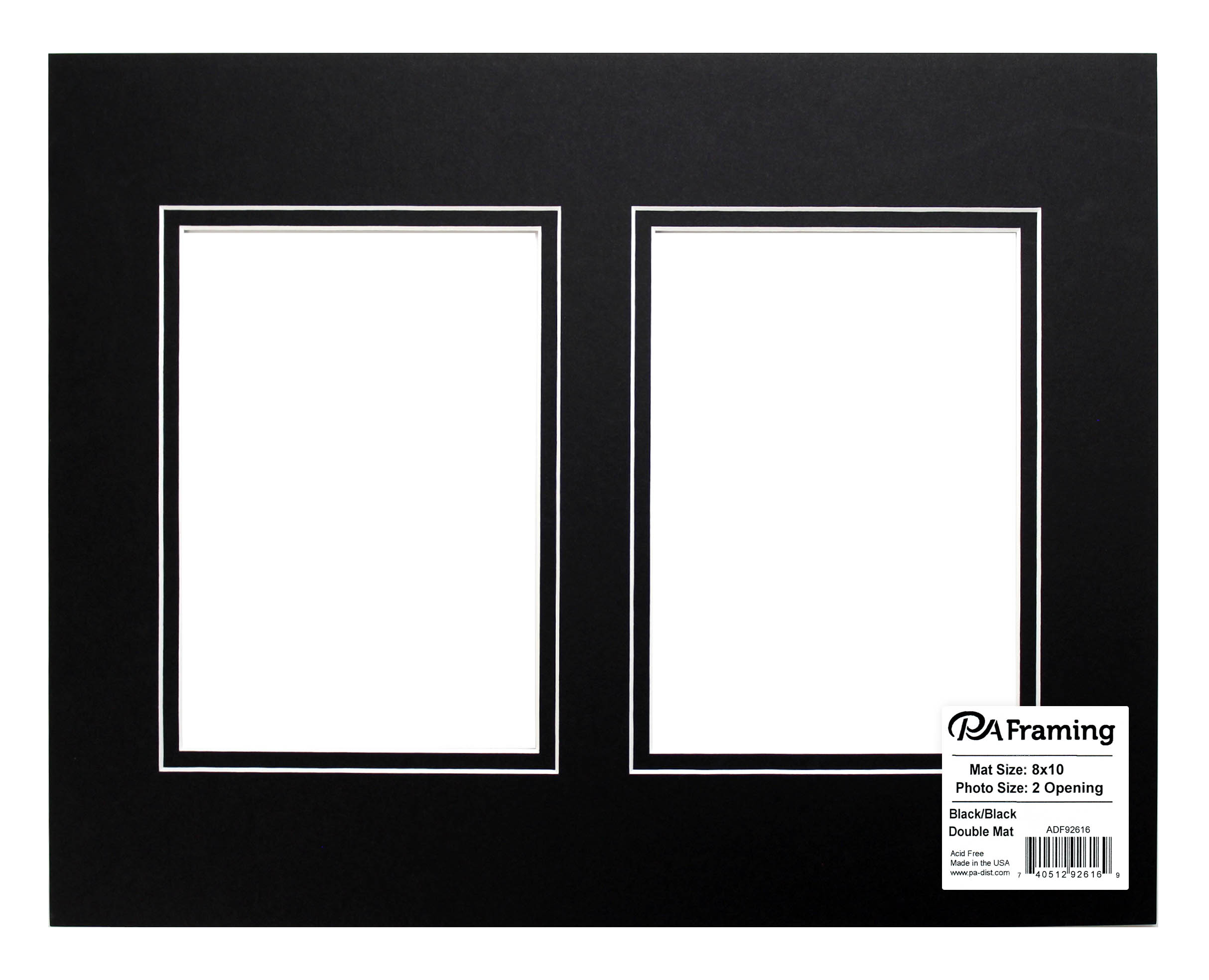 Pre Cut Double Photo Mat Board Design Wh Core 8 X 10 In 2 Openings