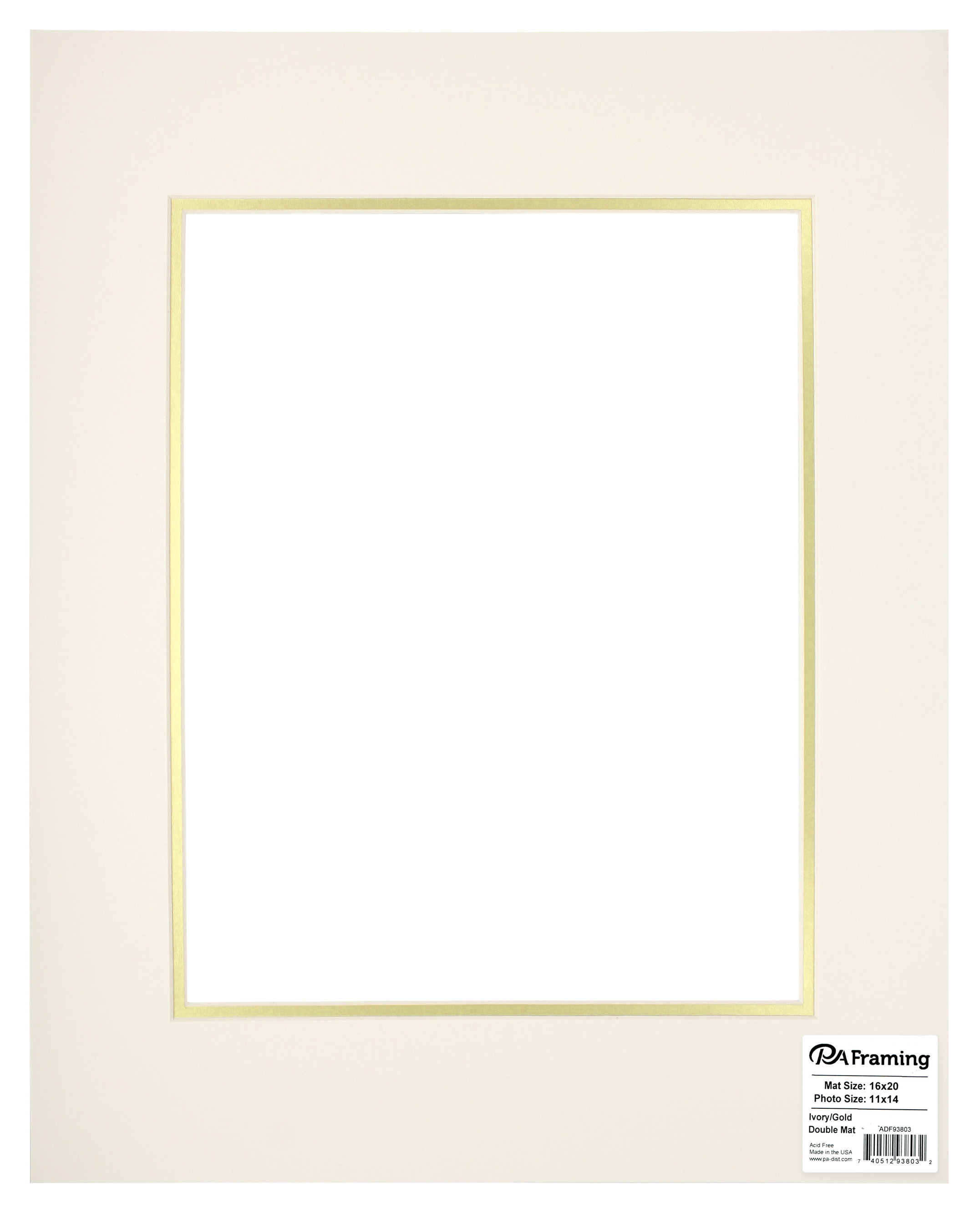 Pre Cut Double Photo Mat Board Cream Core 16 X 20 In Ivorygold