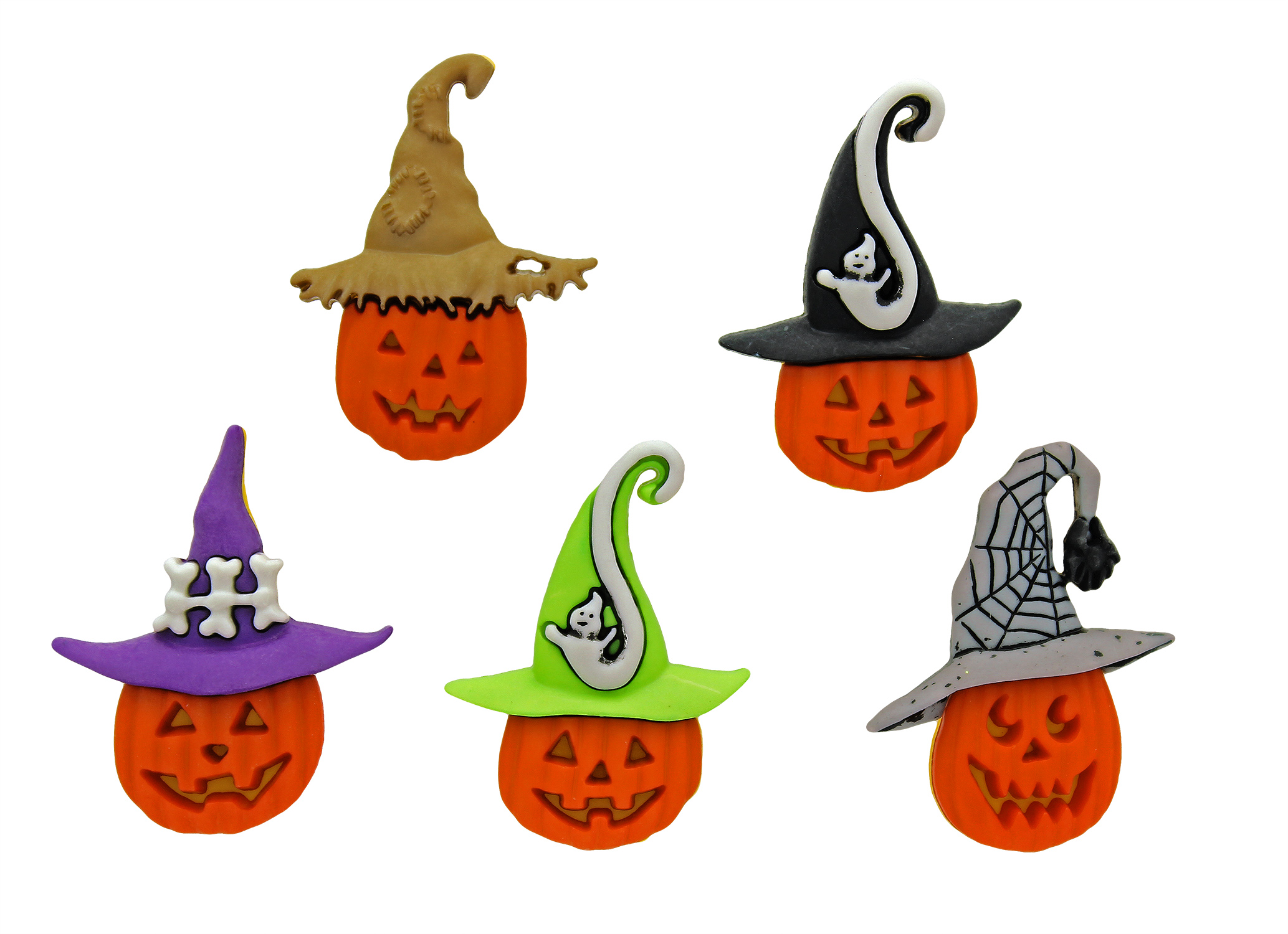 JACKS IN HATS Pumpkin Trick or Treat Halloween Witch Dress It Up Craft Buttons
